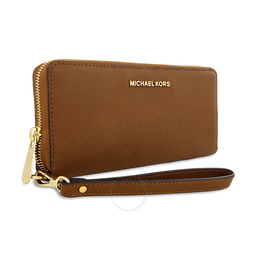 c45d323833b5 ... logo continental wallet brown 3eb9f edb80  release date michael kors  jet set travel leather continental wallet luggage ba5d9 9e347