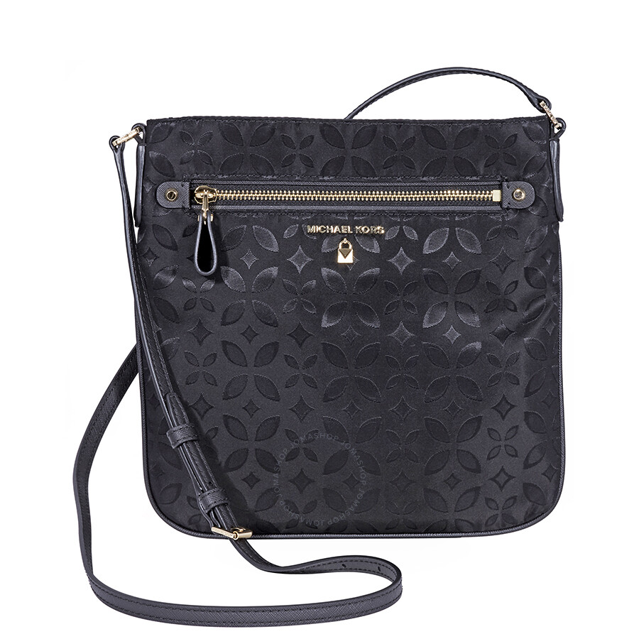 53a425c92a270 ... new style michael kors kelsey large floral nylon crossbody bag black  2dd4c 081af ...