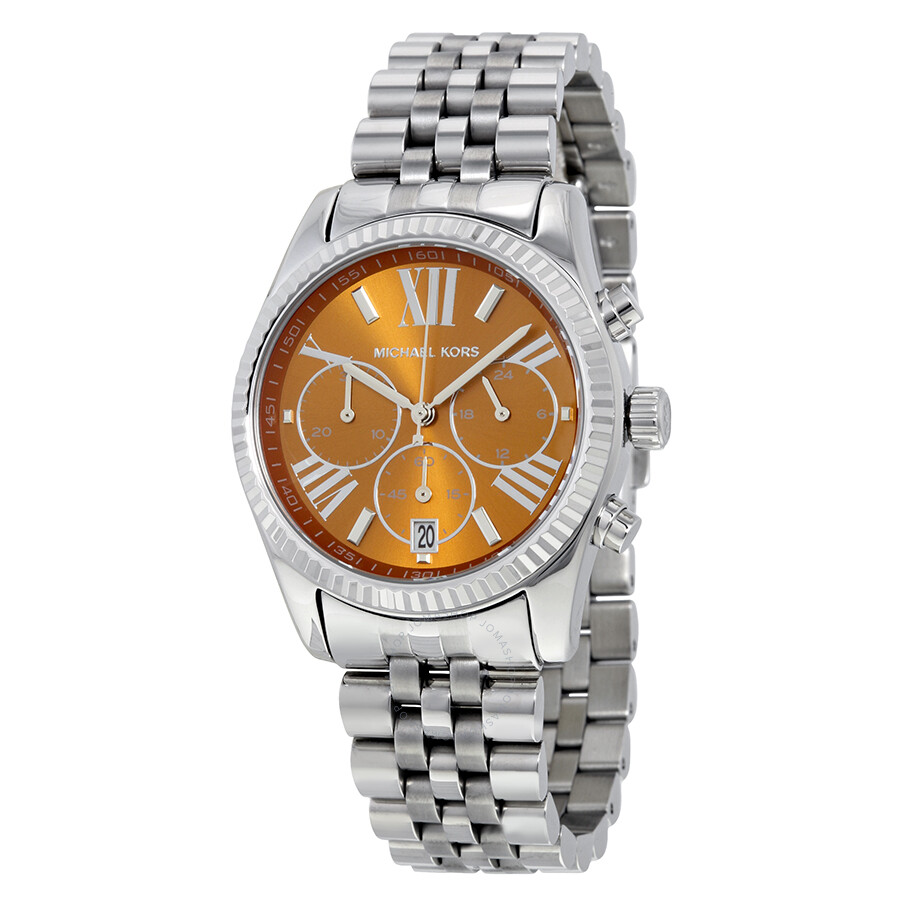 michael kors female 261487 michael kors lexington chronograph brown dial stainless steel ladies watch