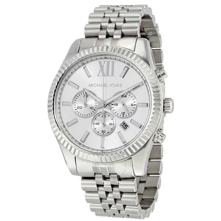 michael kors male michael kors lexington chronograph silver dial mens watch mk8405