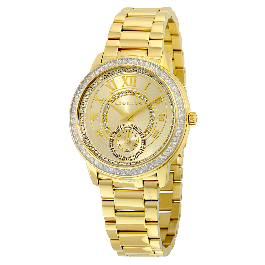 michael kors female 220612 michael kors madelyn champagne dial goldtone ladies watch mk6287