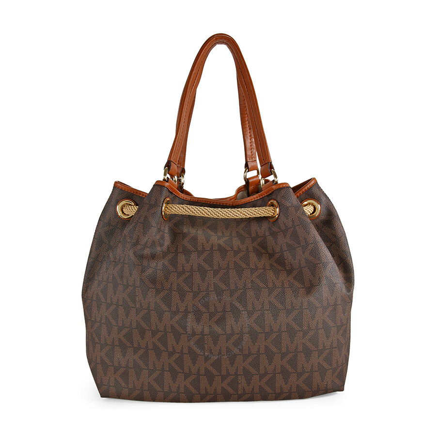 431530e477 ... low cost michael kors marina large mk signature pvc gathered tote brown  33361 57f3f