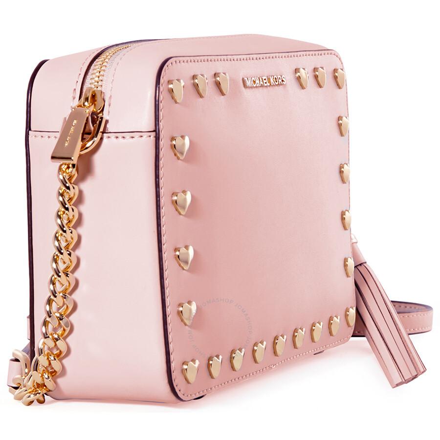 d3c4ae278695e ... germany michael kors medium ginny heart studded camera bag soft pink  18595 57dd1