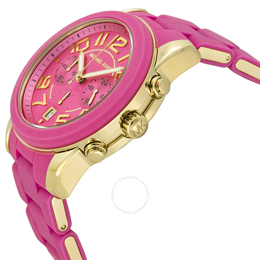 Michael Kors Mercer Chronograph Pink Dial Pink Silicone Wrapped ...