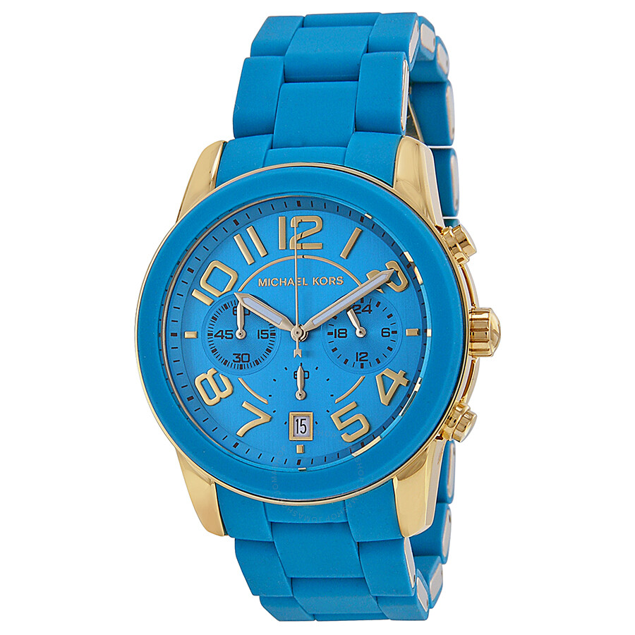 Michael Kors Mercer Chronograph Turquoise Dial Turquoise Silicone Watch MK5891