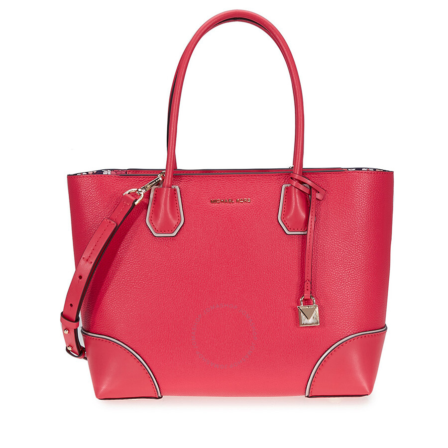 Michael Kors Mercer Gallery Medium Leather Tote- Deep Pink