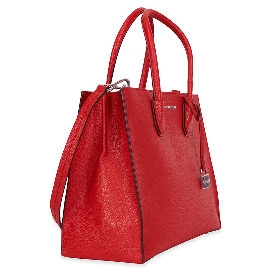 michael kors mercer large bonded leather tote bright red. Black Bedroom Furniture Sets. Home Design Ideas