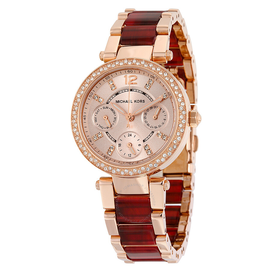 Michael Kors Mini Parker Multi-Function Rose Dial Ladies Watch MK6239