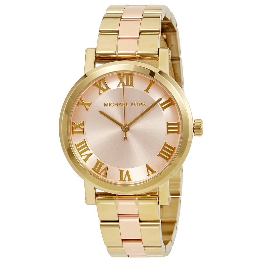 michael kors female michael kors norie blush dial ladies watch mk3586