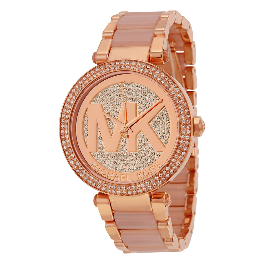 michael kors female michael kors parker crystal pave logo dial ladies watch mk6176