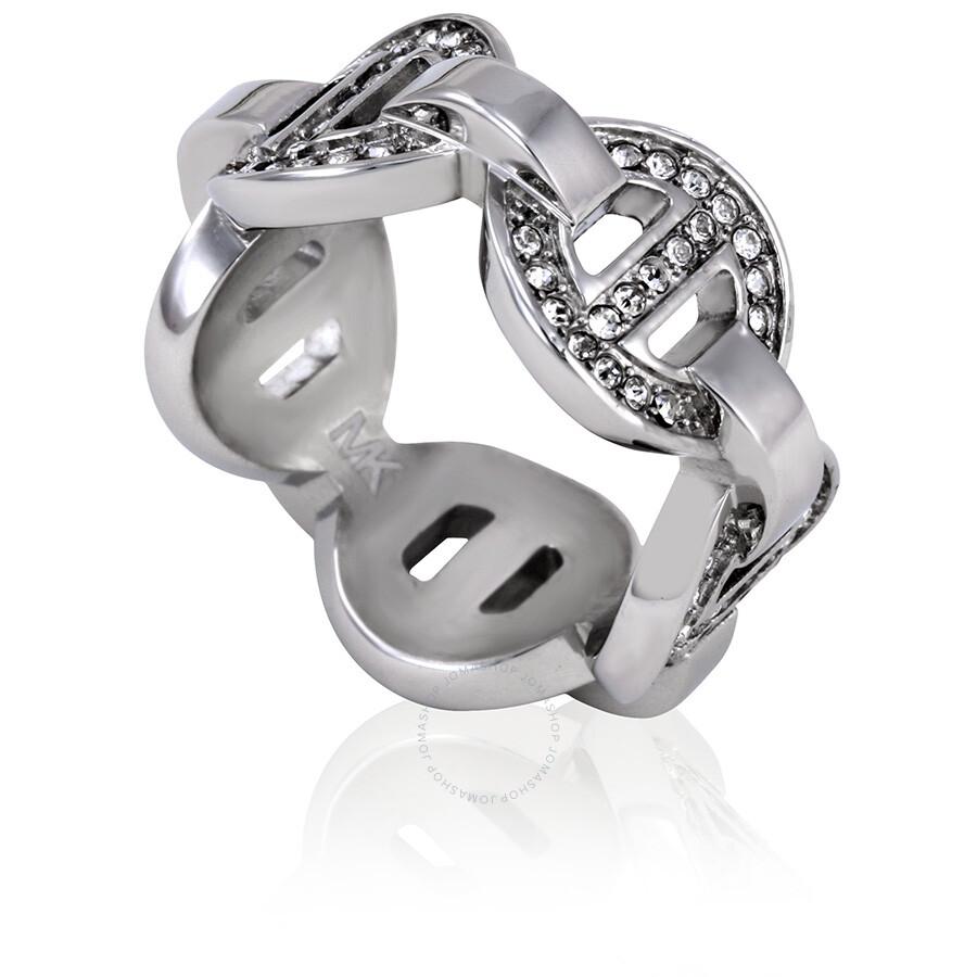 michael kors michael kors pave maritime link silvertone ring size 6