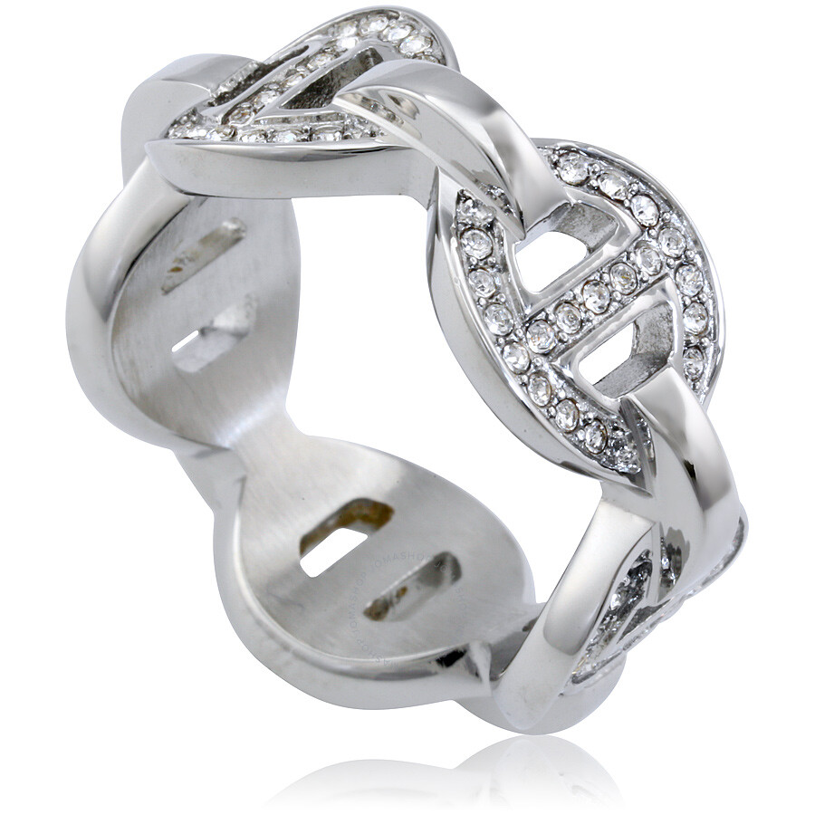 michael kors michael kors pave maritime link silvertone ring size 7
