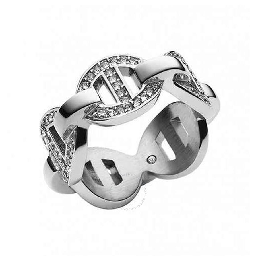 michael kors michael kors pave maritime link silvertone ring size 4