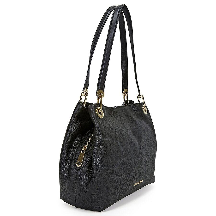 Michael Kors Raven Large Leather Shoulder Bag Black 30h6grxe3l 001