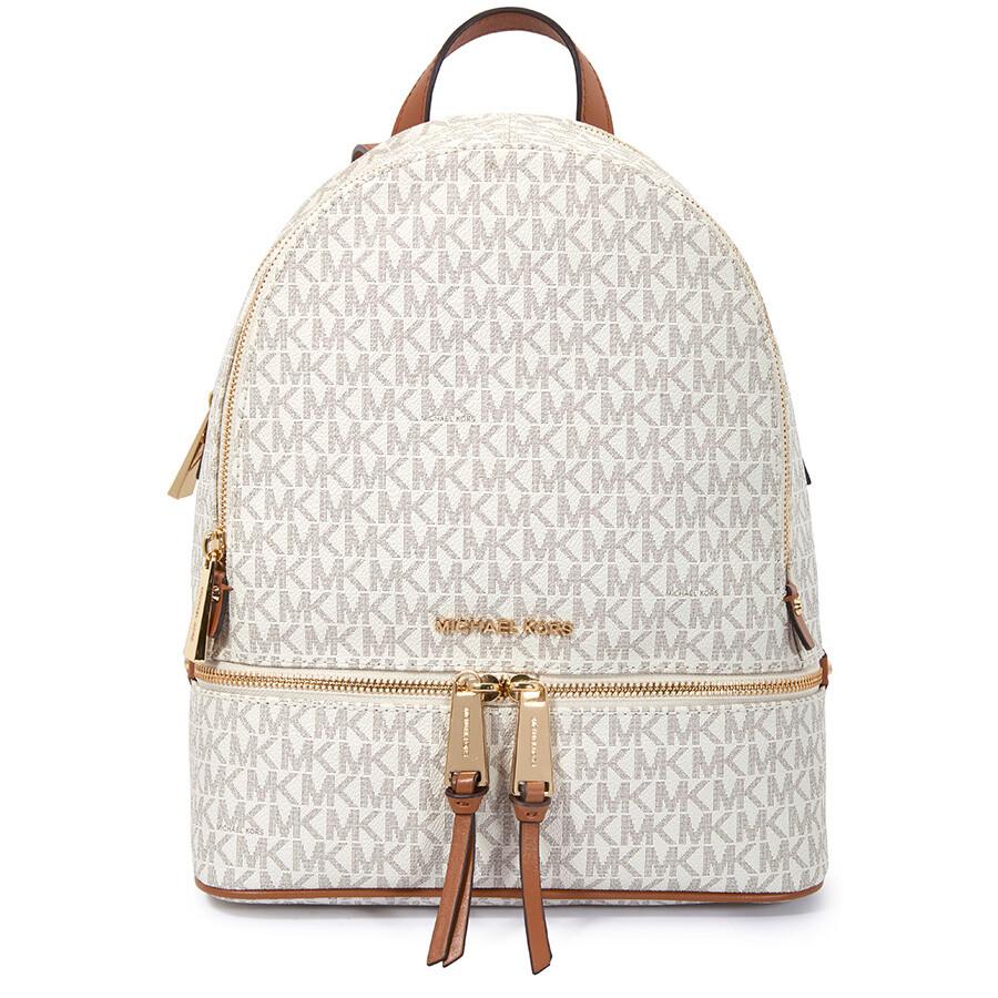 4543c9091ca8 ... shopping michael kors rhea medium logo print backpack vanilla 17078  4e902