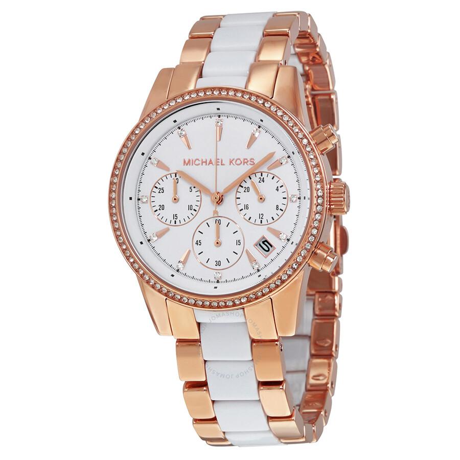 michael kors female michael kors ritz quartz chronograph white dial ladies watch mk6324