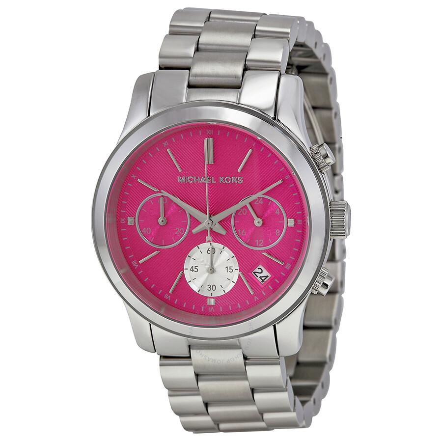 Michael Kors Runway Chronograph Pink Dial Stainless Steel Ladies ...