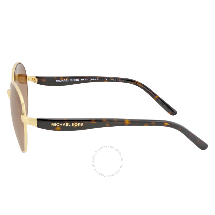 a6ad05a1db91f Michael Kors Sadie Round GoldSmoke Gradient Sunglasses MK1007 100413 52-19 .