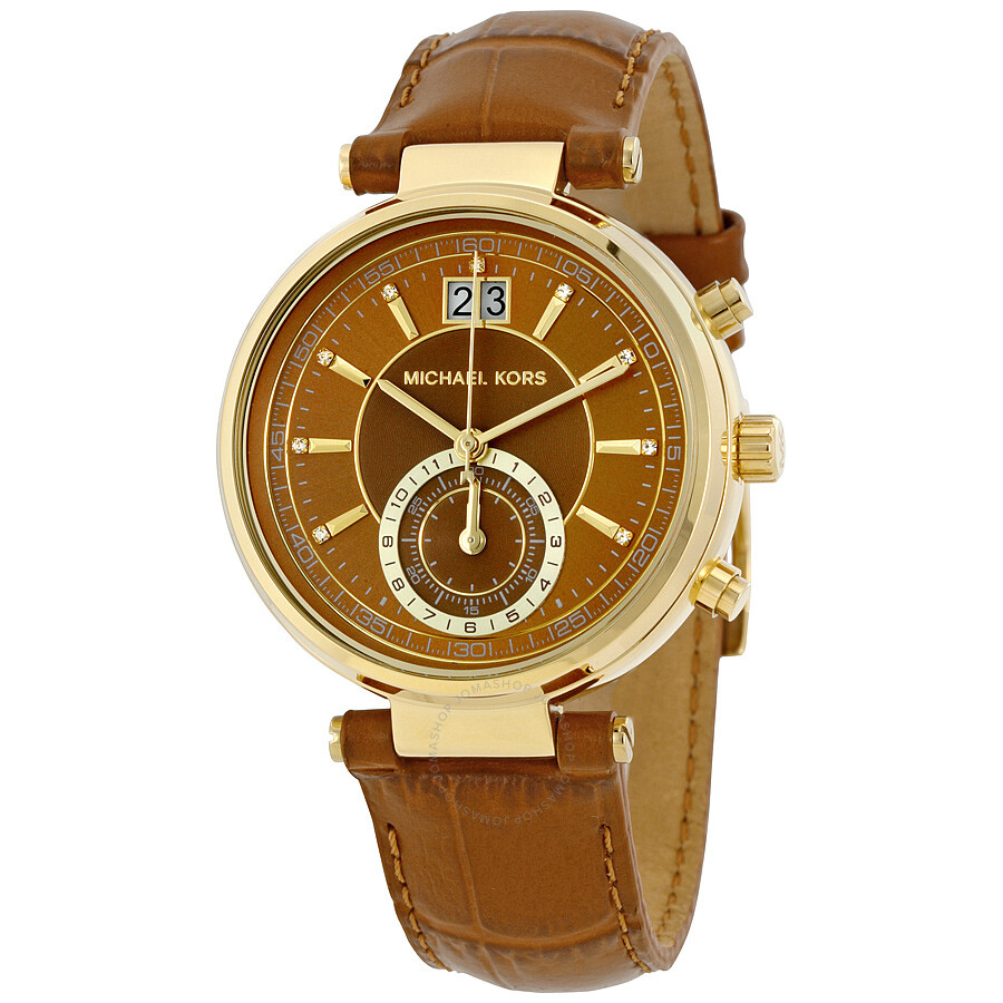 Michael Kors Sawyer Amber Sunray Dial Ladies Watch Mk2424 Sawyer