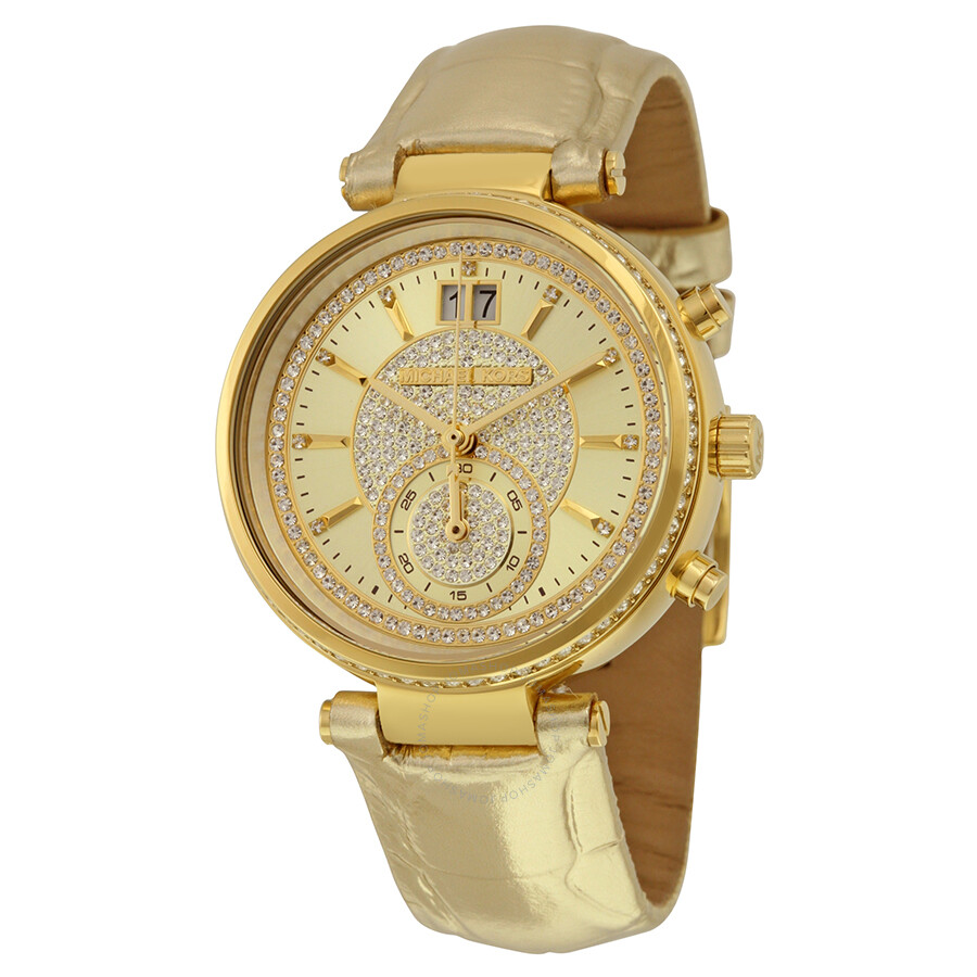 michael kors female 123919 michael kors sawyer champagne crystal pave dial leather ladies watch mk2444