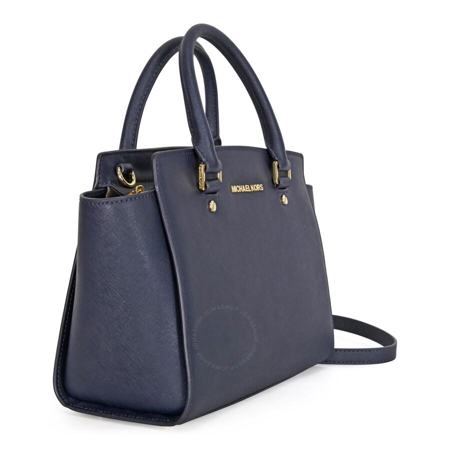 9a20b63aa3aa ... discount michael kors selma saffiano leather medium satchel admiral  3e725 a329a ...