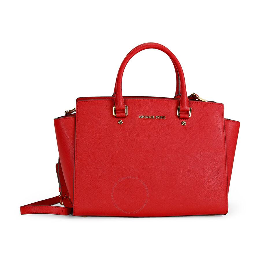 e025ed7aa0 ... where to buy michael kors selma saffiano leather satchel handbag in red  baa6b 14b07