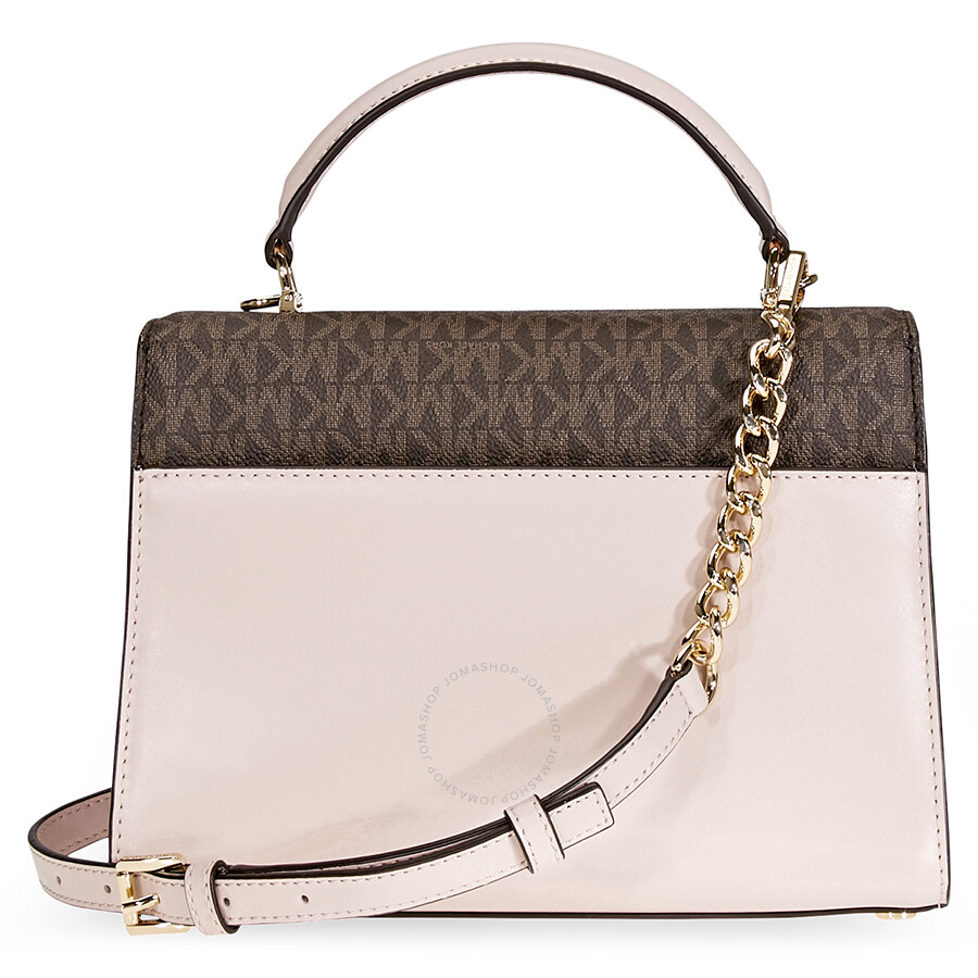 11ccba2574d3 ... double flap leather satchel 95d41 cef1e  coupon code for michael kors  sloan medium leather and logo satchel brown soft pink 2e600 dcf5f