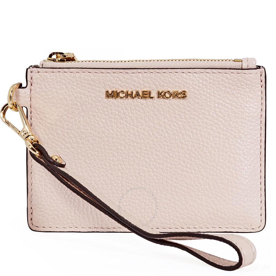 michael kors small mercer pebbled leather coin case soft pink mercer michael kors handbags. Black Bedroom Furniture Sets. Home Design Ideas