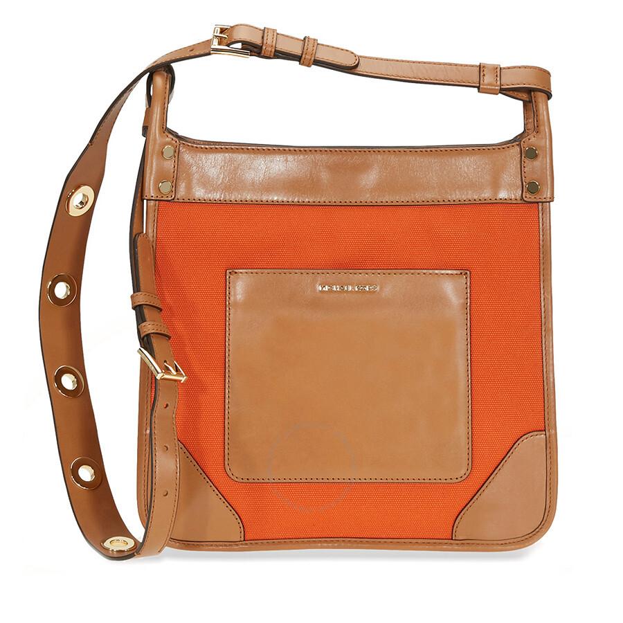 79107f61c984 ... reduced michael kors sullivan large canvas messenger bag tangerine  f1bf5 71d46
