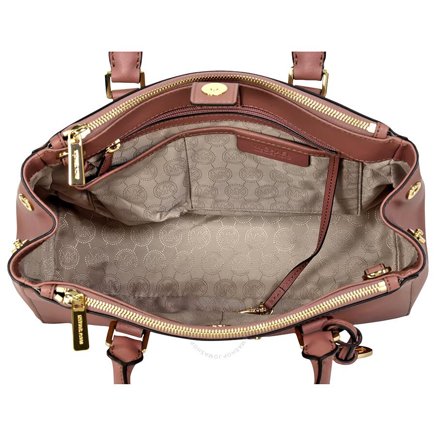 Michael Kors Sutton Leather Medium Satchel Handbag Dusty