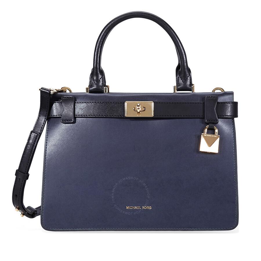 e86cb96e40 ... crossbody bag navy blue 32h3glmc1l 6e0ac bbae2  ireland michael kors  tatiana small leather satchel navy blue black 2ace7 3cb55