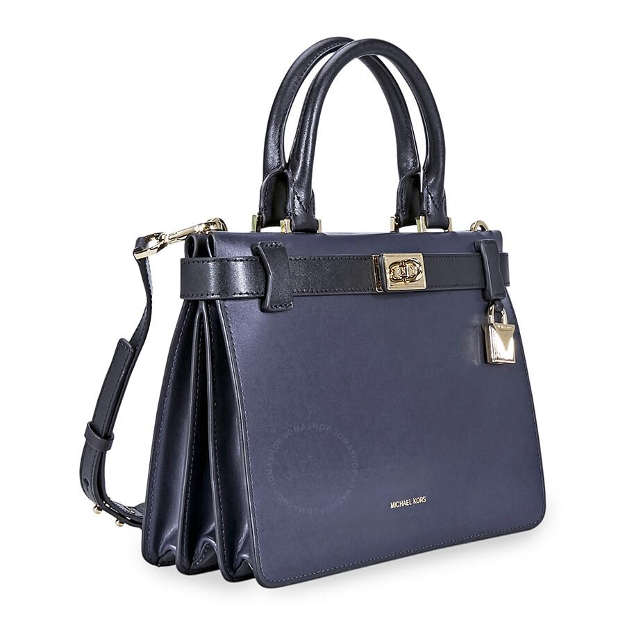 a9f6c41bb620 ... ireland michael kors tatiana small leather satchel navy blue black  3a47f f921e