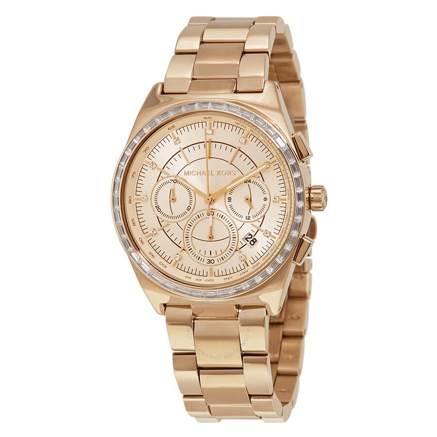 michael kors female michael kors vail rose gold dial ladies chronograph watch mk6421