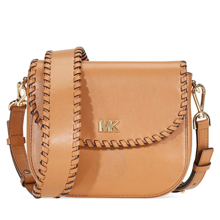 8283ec99841d ... release date michael kors whipstitched leather saddle bag acorn 7bb6f  c4eca