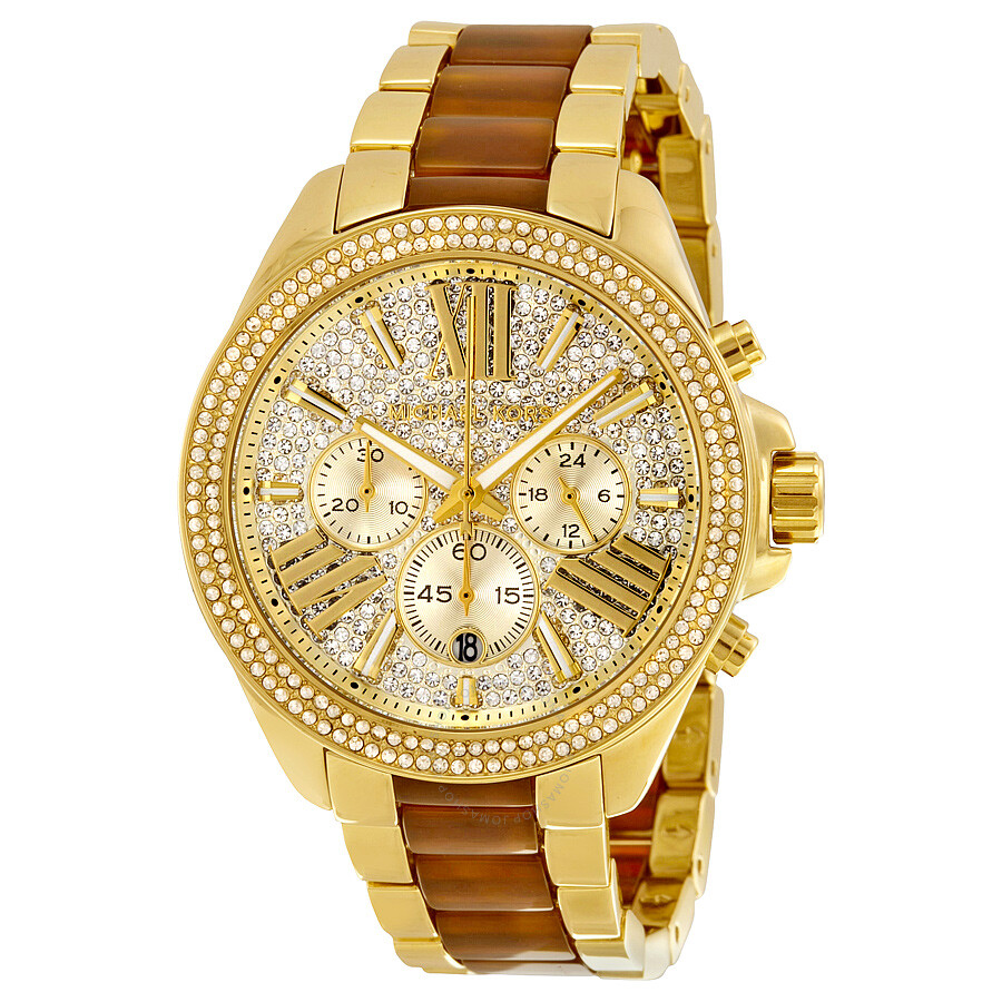 Michael Kors Wren Crystal Pave Dial Chronograph Gold-Tone and Amber Tortoise..