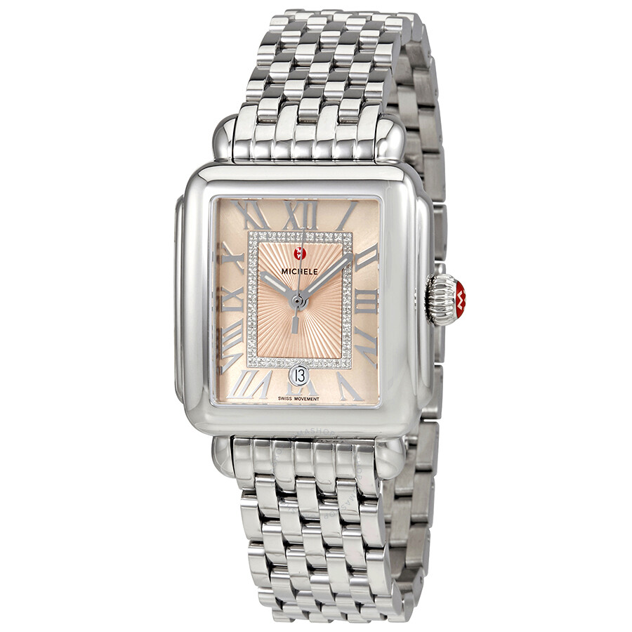 deco ladies michele watches watch beige madison sunray dial diamond