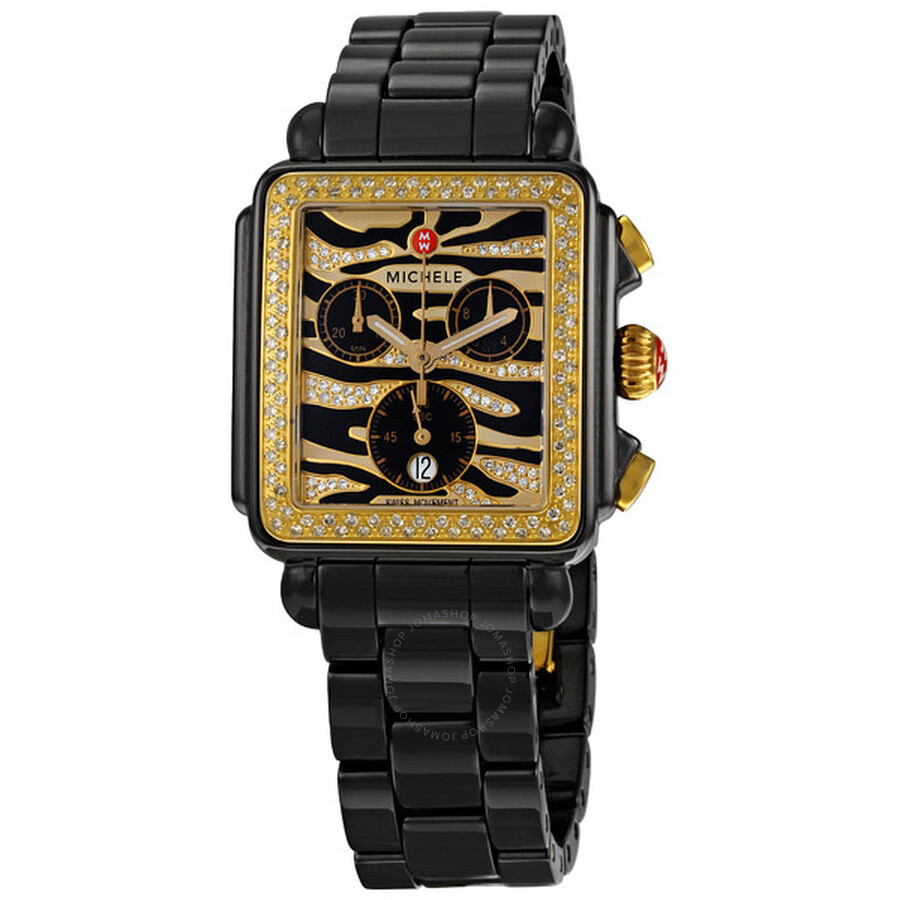 Michele Deco Safari Cheetah Black Ceramic Ladies Watch MWW06F000012