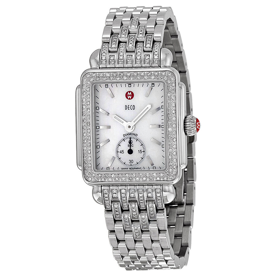 pearl michele of watches diamond dial ladies deco day mother watch