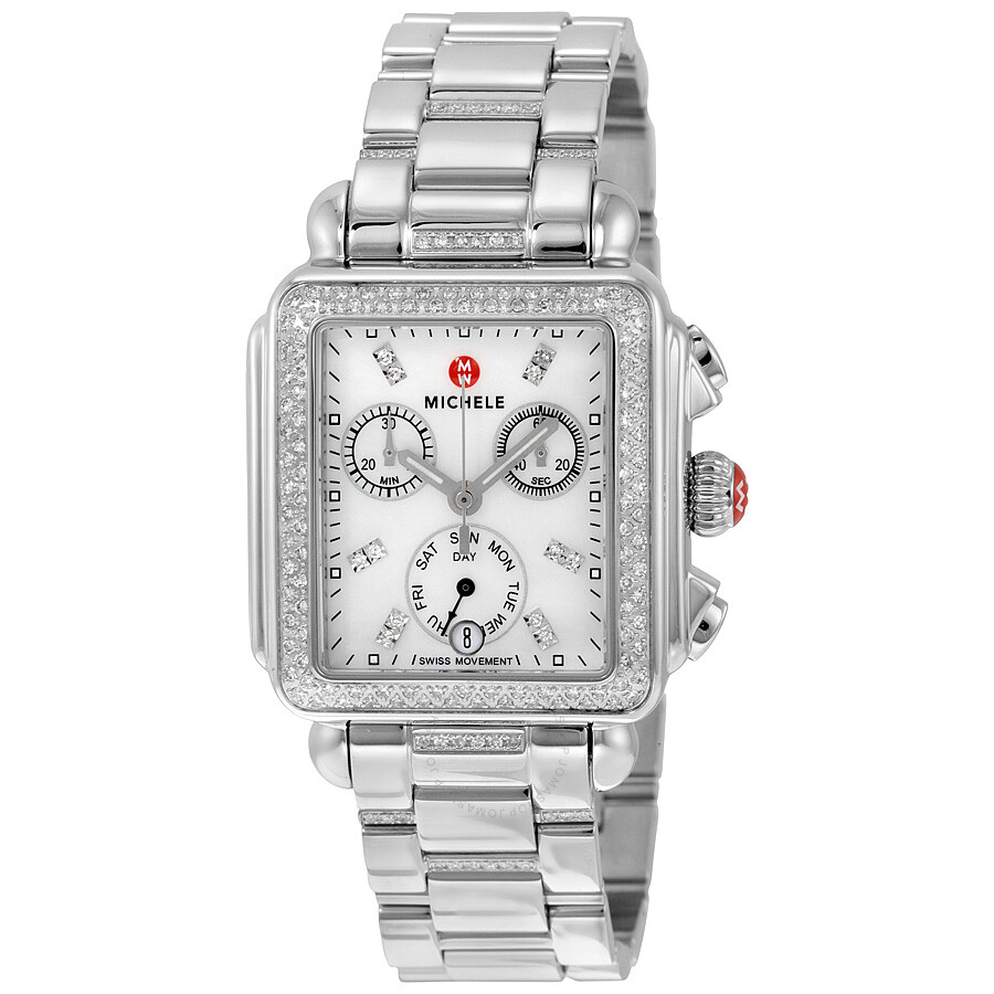 diamond silver deco bracelet stainless lyst pearl michele steel watch accessories day chronograph watches mother of