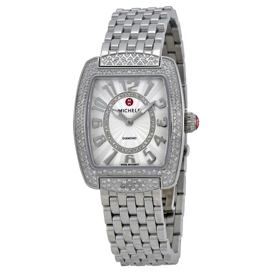 stainless watches s diamond caber michele ladies steel womens watch women
