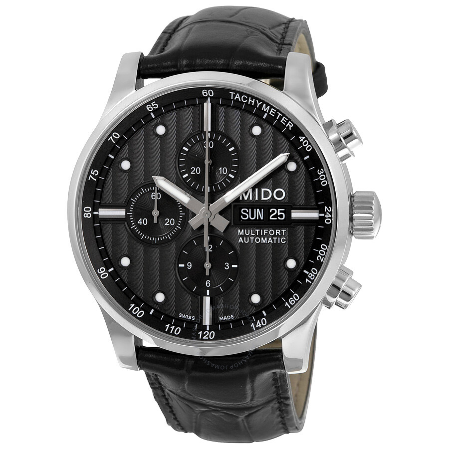 Mido multifort black dial black leather men 39 s watch m0056141606100 multifort mido watches for Mido watches