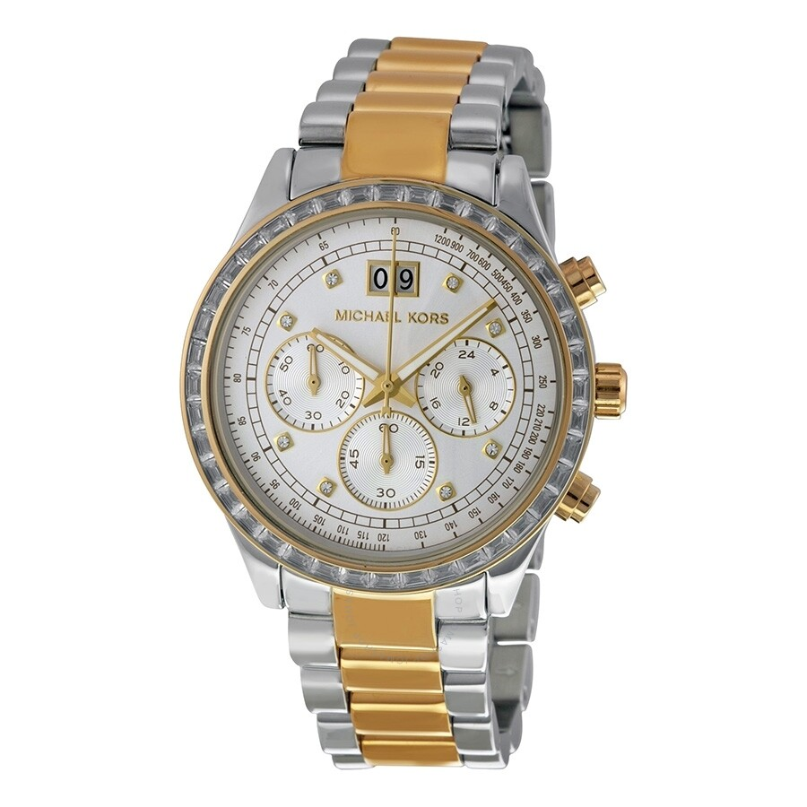 Open Box - Michael Kors Brinkley Chronograpgh Silver Dial Ladies Watch MK6188