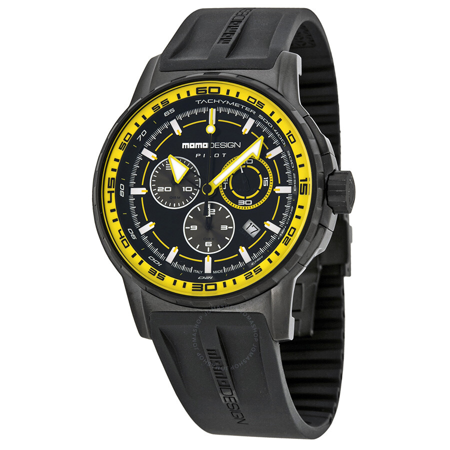 Momo design black dial yellow bezel black rubber men 39 s watch md2164bk51 rb momo design for Black bezel watches
