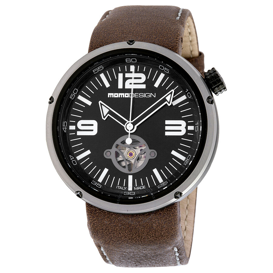 Momo Design Evo Automatic Black Dial Brown Leather Mens Watch MD1011BS-12