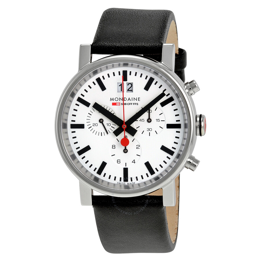 Mondaine Evo Big Chronograph White Dial Black Leather Mens Watch A690.30304.11SBB
