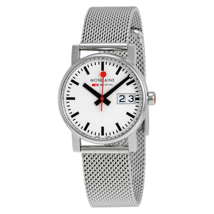 Mondaine Evo Big Date White Dial Stainless Steel Mesh Ladies Watch A669.30305.11SBM
