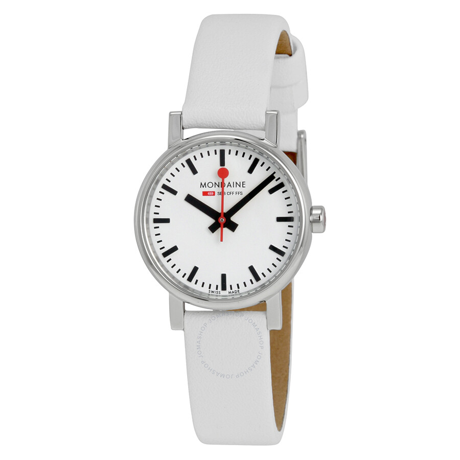 Mondaine Evo Petite White Dial White Leather Ladies Watch A658.30301.11SBN