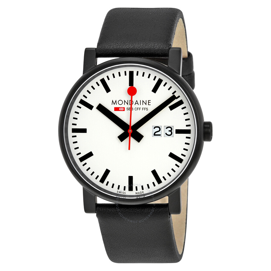 Mondaine Evo White Dial Black Leather Mens Watch A627.30303.61SBB