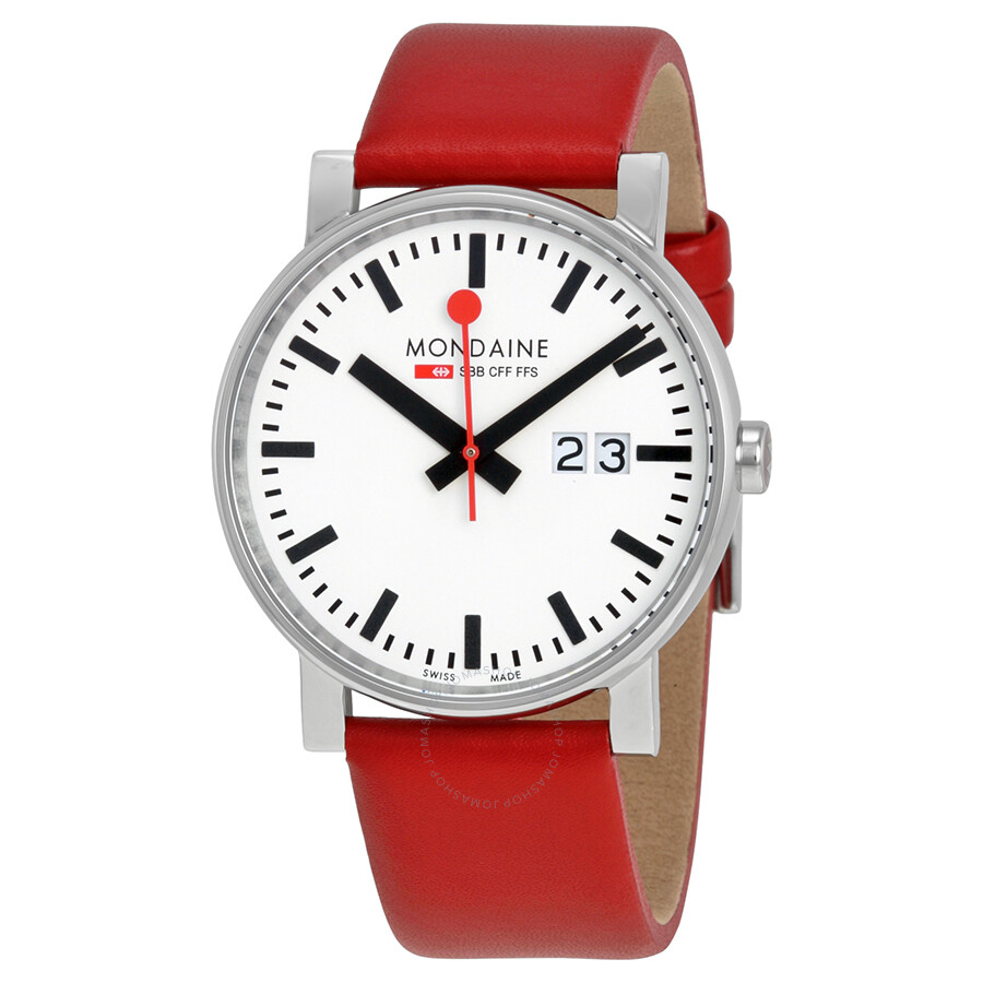 Mondaine Evo White Dial Red Leather Ladies Watch A627.30303.11SBC