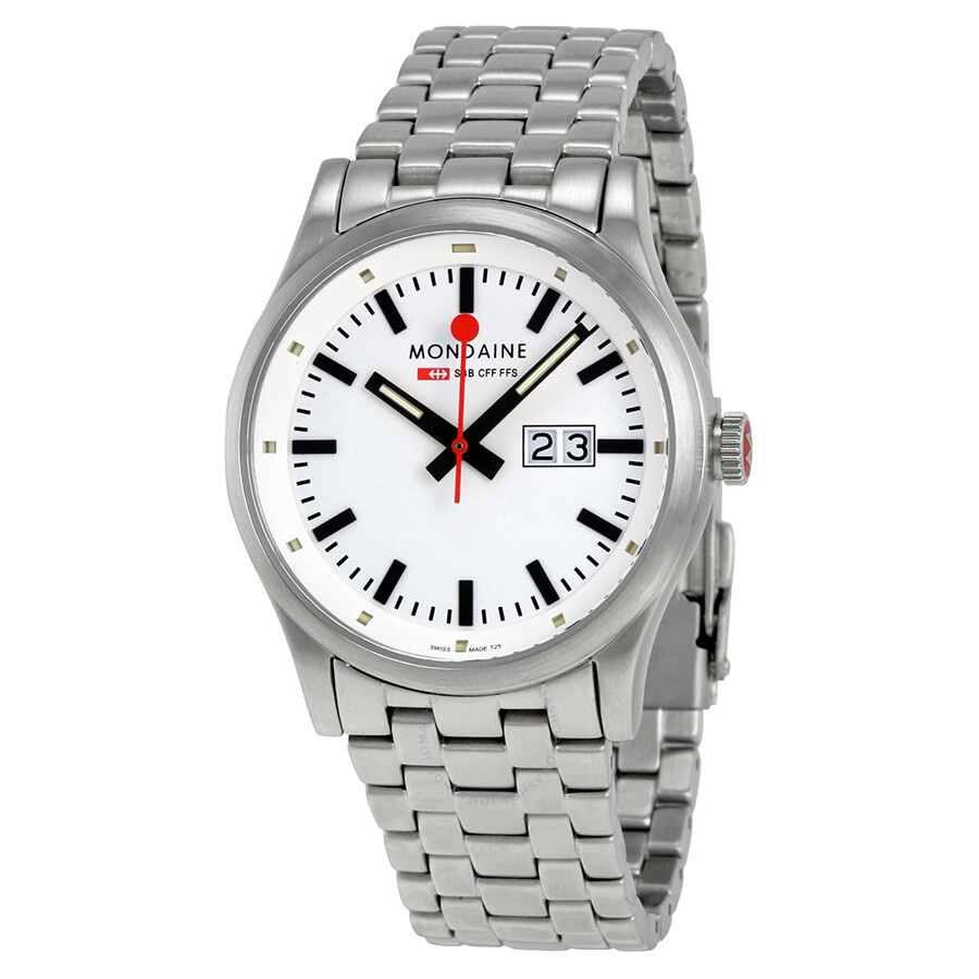 Mondaine Sport White Dial Stainless Steel Mens Watch A669.30308.16SBM